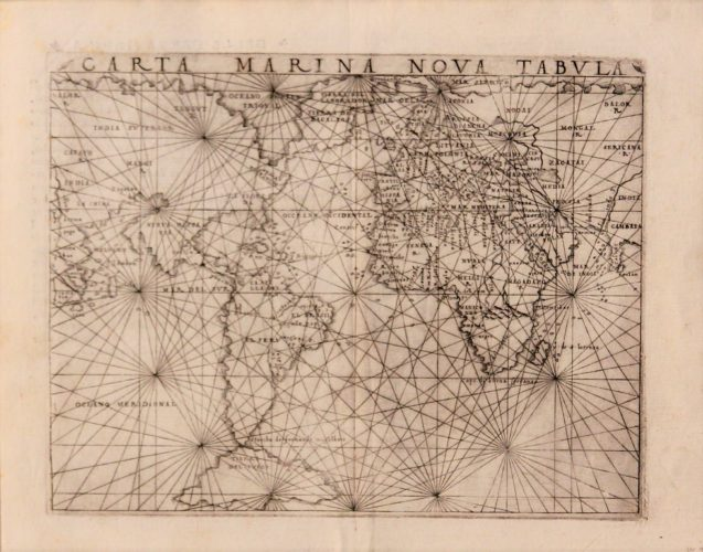 Old black and white world map by Gastaldi with linked continentes, 1548