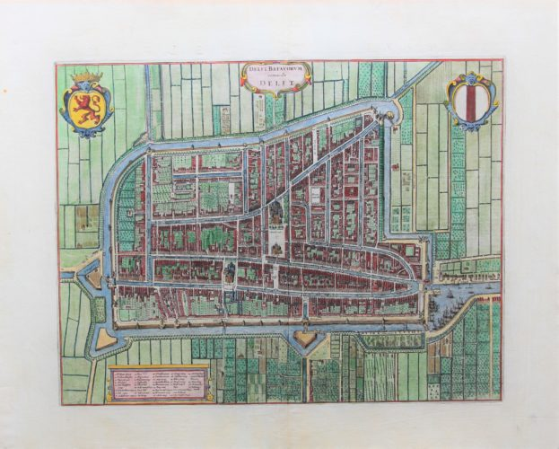 Old original and coloured map of Delft published by Blaeu in his Town Atlas
