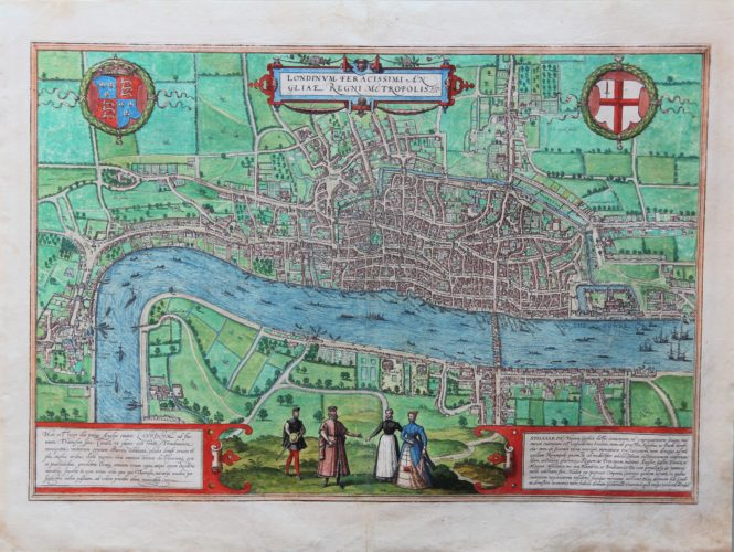 Old original 16th century and colored map of London by Braun and Hogenberg, published in their town atlas