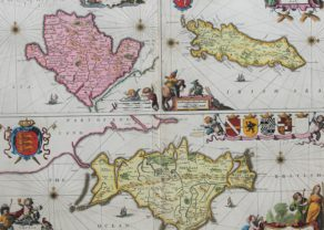 Large and rare olf map os the isles of Man, Wight and Anglesy