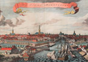 Beautiful large and coloured view of Middelburg by Smallegange of 1696