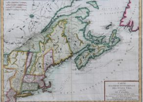 Old map of Northeastern America and Canada by Tardieu