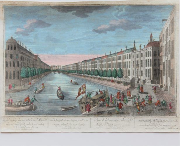 Old 18th century optica print of the Herengracht in Amsterdam by Probst