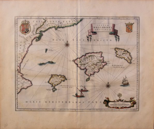 Old original and coloured map of the Baleares Islands by Blaeu