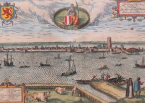 Superb 16th century view of Dordrecht (as an isle) by Braun and Hogenberg