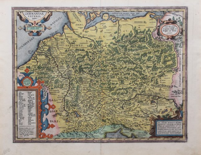 old original map of Celtic Germania by Ortelius, with mention of the tribes