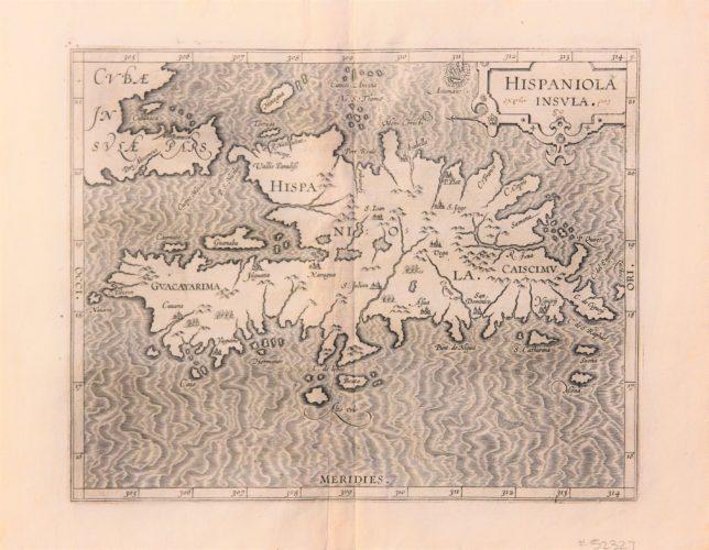 Old original black and white map of Hispaniola by Wytfliet, 1597