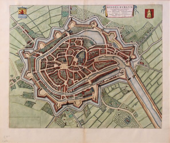 Old original map of Middelburg by Blaeu, published in his Town Atlas