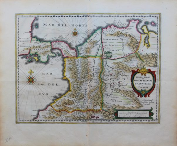 Old original and colored map of Panama, Columbia and Venezuela by Blaeu