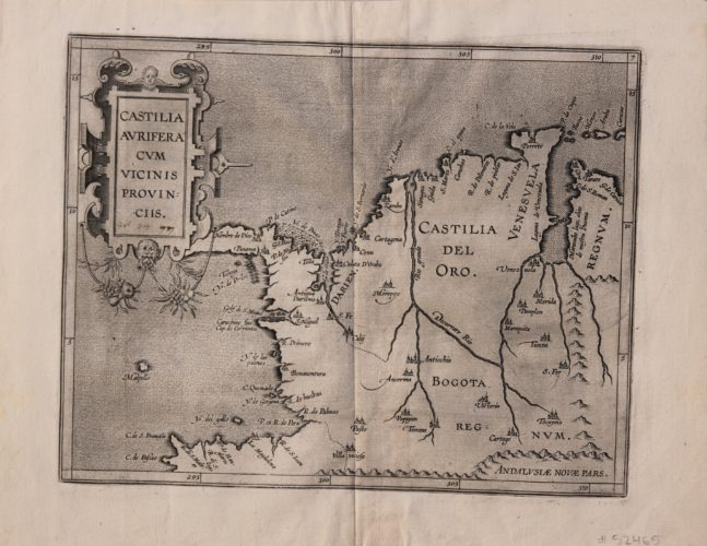 Old black and white map of Panama, Columbia and Venezuela by Wytfliet, 1597