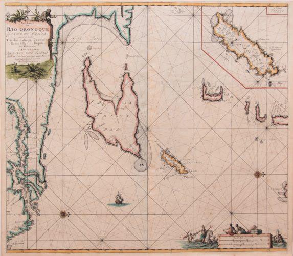 Old colored 17th century map of Orinoco, Trinidad and Tobago by van Keulen