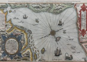 Old map of the Gulf of Finland by Lucas Janszoon Waghenaer