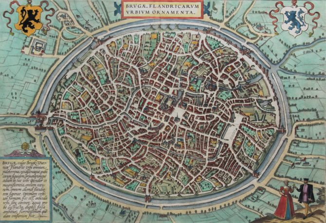 Old 17th century map of Brugge, Bruges by Braun and Hogenberg