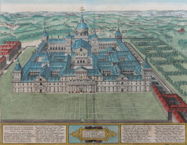 Old map of El Escorial by Braun and Hogenberg