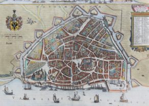 Old 17th century map of Nijmegen by van Geelkercken