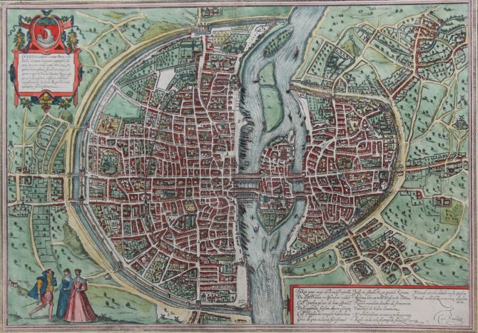 Old map of Paris by Braun and Hogenberg. Only French edition from 1579