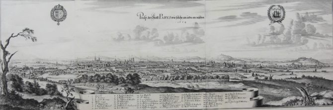 Superb view of Paris from the South in 1654 by Merian