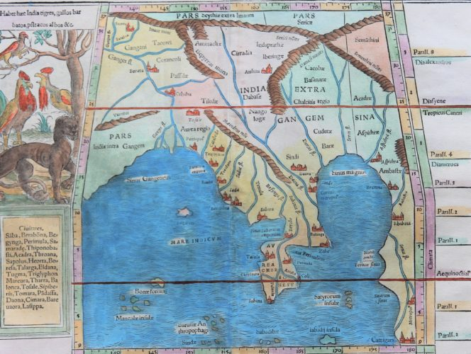 Old map 1542 of South East Asia (Gulf of Bengal) by Muenster