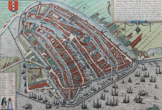 Old 16th century map of Amsterdam by Braun and Hogenberg