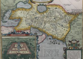 Old map of the empire of Alexander the Great by Ortelius published in his Parergon
