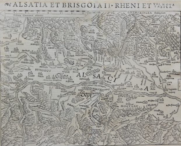 Old 16th century map of Alsace by Muenster