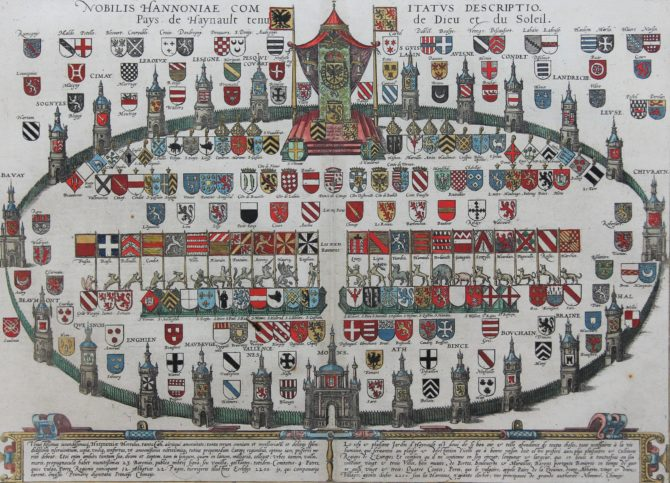 Arms of the County of Hainaut in oval shape by Braun and Hogenberg