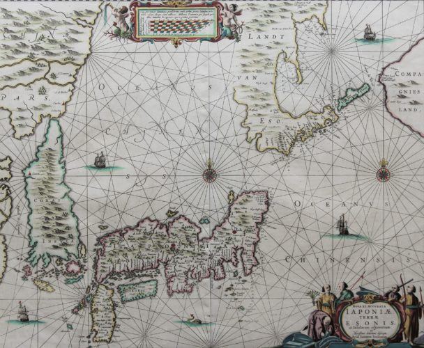 Old 17th century map of Japan and Korea by Janssonius