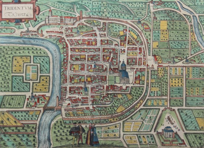 Old 16th century map of Trento (Italy) by Braun and Hogenberg