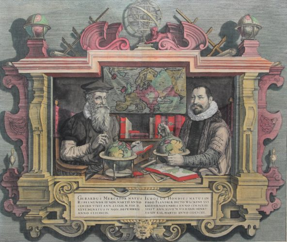 Nice old double portrait of Gerard Mercator and Jodocus Hondius