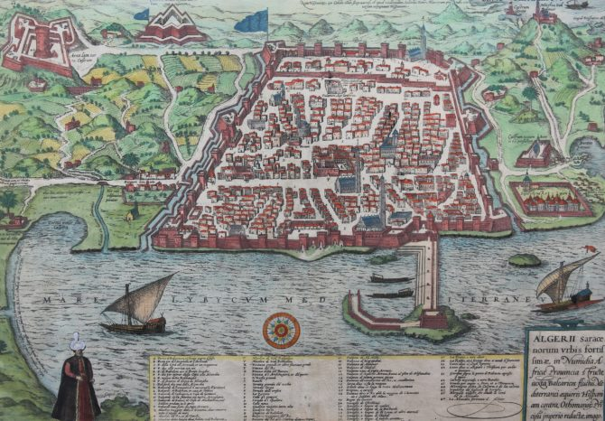 Old map of Algiers by Braun Hogenberg