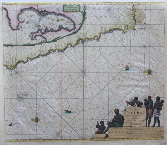 Original 17th century chart of Southern Africa by Johannes van Keulen
