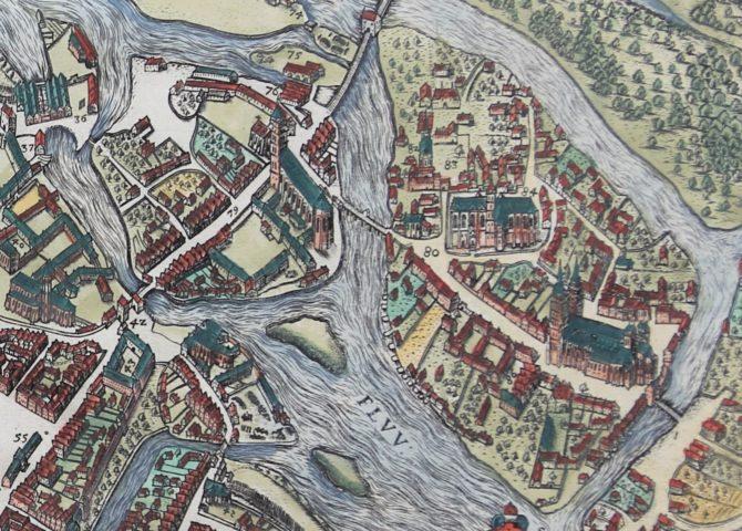 Original 16th century view of Wroclaw (Breslau) by Braun and Hogenberg