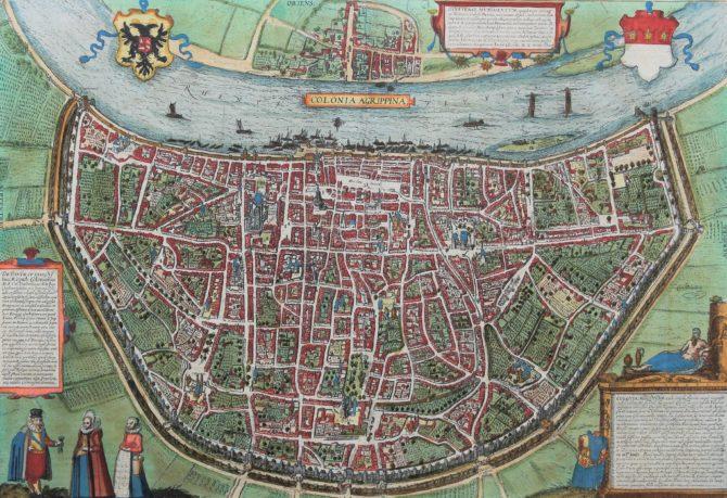 Original 16th century view of Cologne (Köln) by Braun Hogenberg