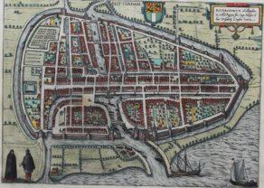 Original 16th century view of Rotterdam by Braun and Hogenberg