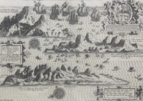 Original view of Ascension by van Linschoten, published in his Itinerario in 1596