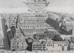 Original view of Jesuit College in Brussels by Sanderus, 1663