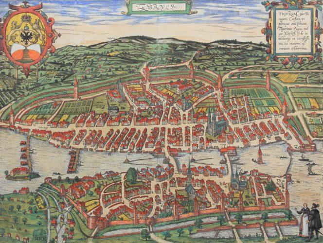 Original 16th century view and town plan of Zurich by Braun Hogenberg