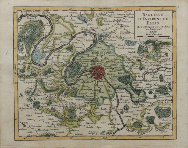 Old view of greater Paris by de Vaugondy, 1748