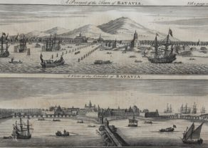 Double view of Batavia by Bowen, published in 1744-1748