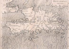 Old map of Hispaniola by Wytfliet, 1597