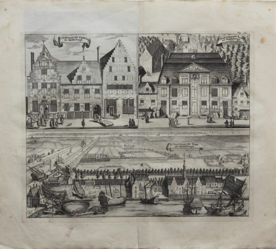 A unique triplet of the second home base of the East India Company at Middelburg, by Smallegange, end 17th century