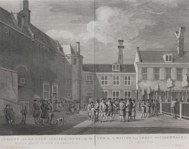 Old view of the courtyard of the headquarters of the West India Company by Maaskamp, 1805