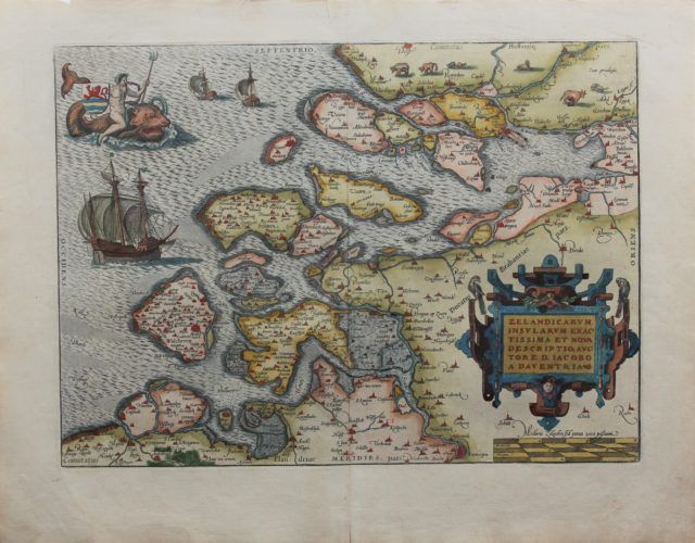 Old map of Zeeland by Ortelius, first published in 1570