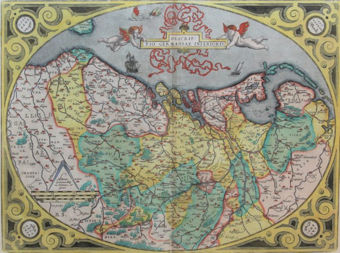 Old egg-map of Germania Inferior, or XVII Provinces by Ortelius, 1570/1592