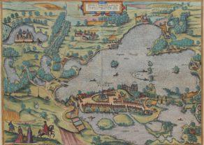 Old map of Plön (Germany) by Braun Hogenberg, 1596/1623