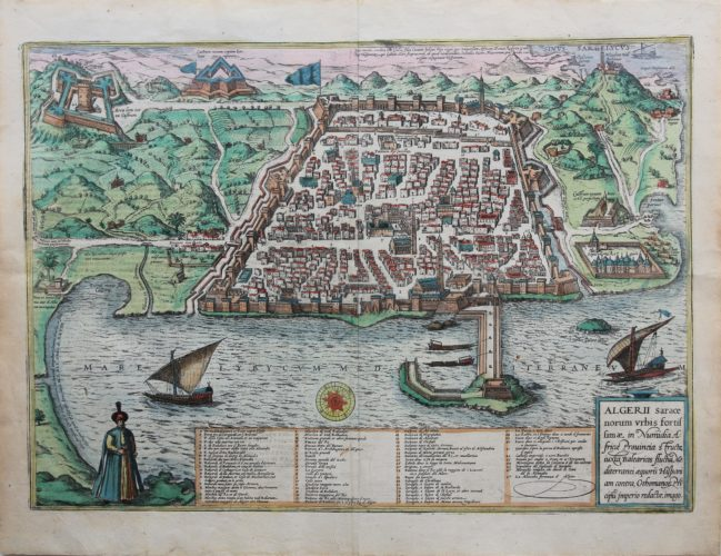Old map of the city of Algiers in Algeria by Braun Hogenberg, 1575-1612
