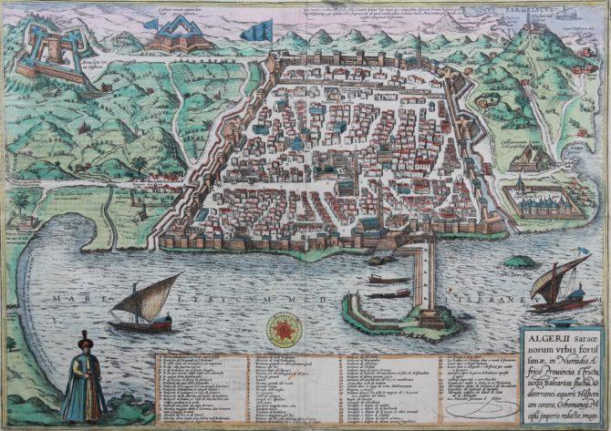 Old map of Algiers in Algeria by Braun Hogenberg