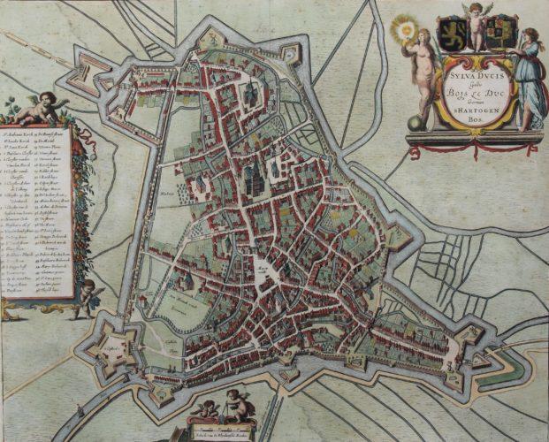 old city map of 's-Hertogenbosch by Johannes Janssonius, 1657