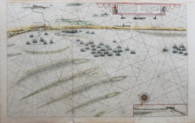 Chart of coast from Dinkirk to Gravelines by Blaeu, 1630