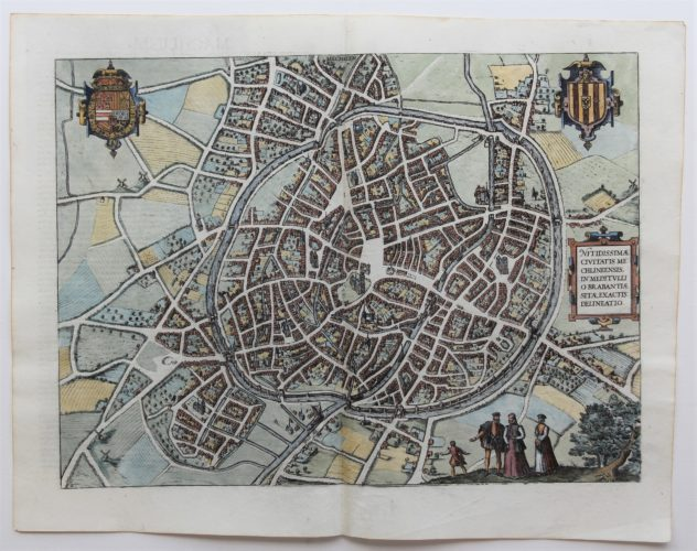 Old map of Mechelen by Braun Hogenberg, 1581/1606